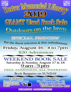 2019 Porter Memorial Library GIANT USED BOOK SALE - FREE